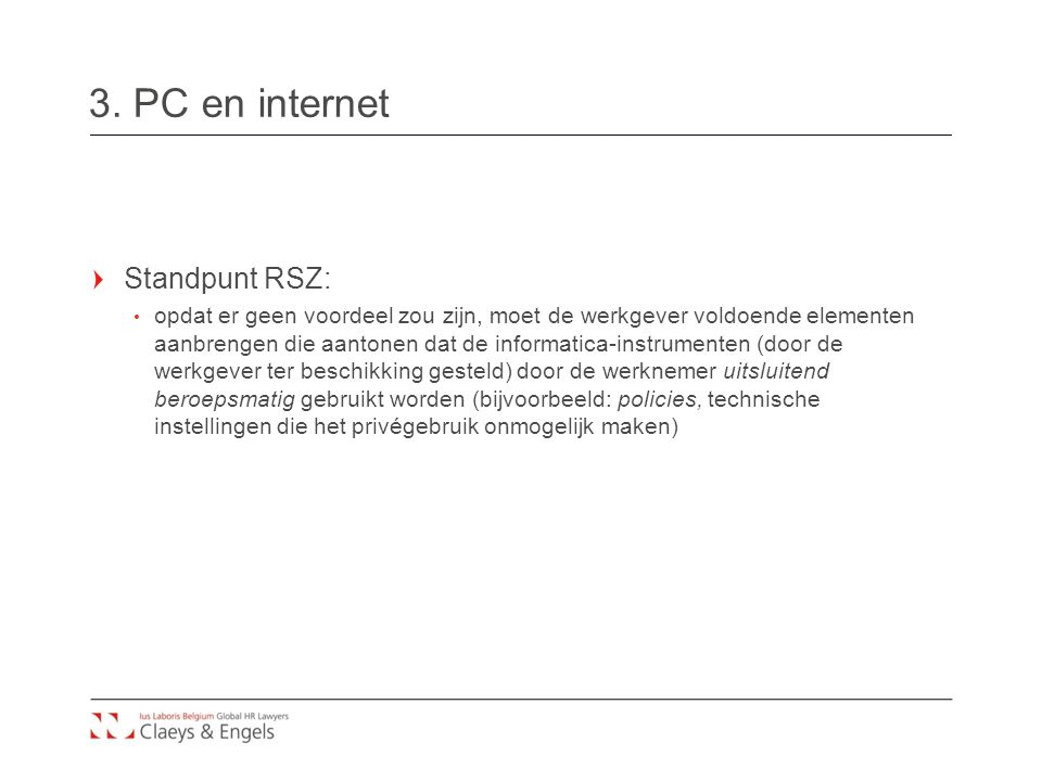 3. PC en internet Standpunt RSZ:
