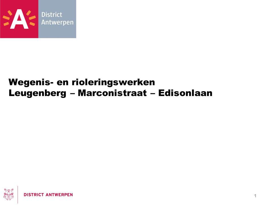 Wegenis- en rioleringswerken Leugenberg – Marconistraat – Edisonlaan