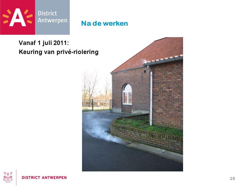 Na de werken Vanaf 1 juli 2011: Keuring van privé-riolering