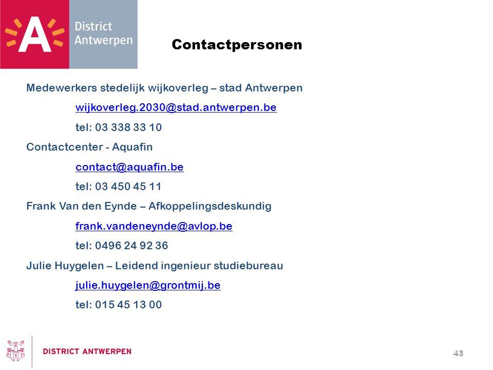 Contactpersonen Medewerkers stedelijk wijkoverleg – stad Antwerpen