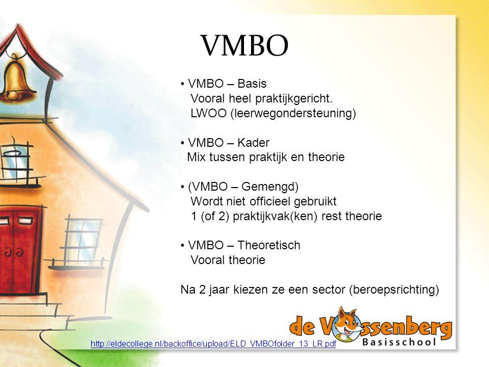 VMBO VMBO – Basis Vooral heel praktijkgericht.