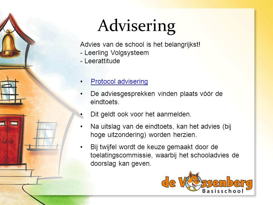 Advisering Advies van de school is het belangrijkst! - Leerling Volgsysteem - Leerattitude. Protocol advisering.