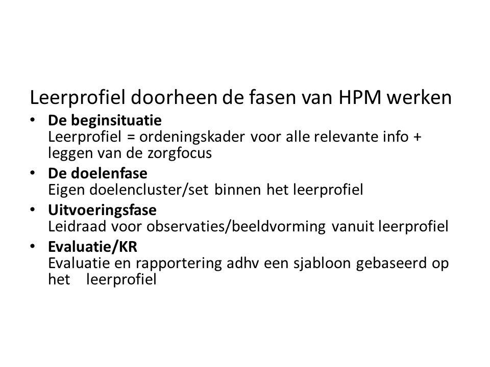 Leerprofiel doorheen de fasen van HPM werken