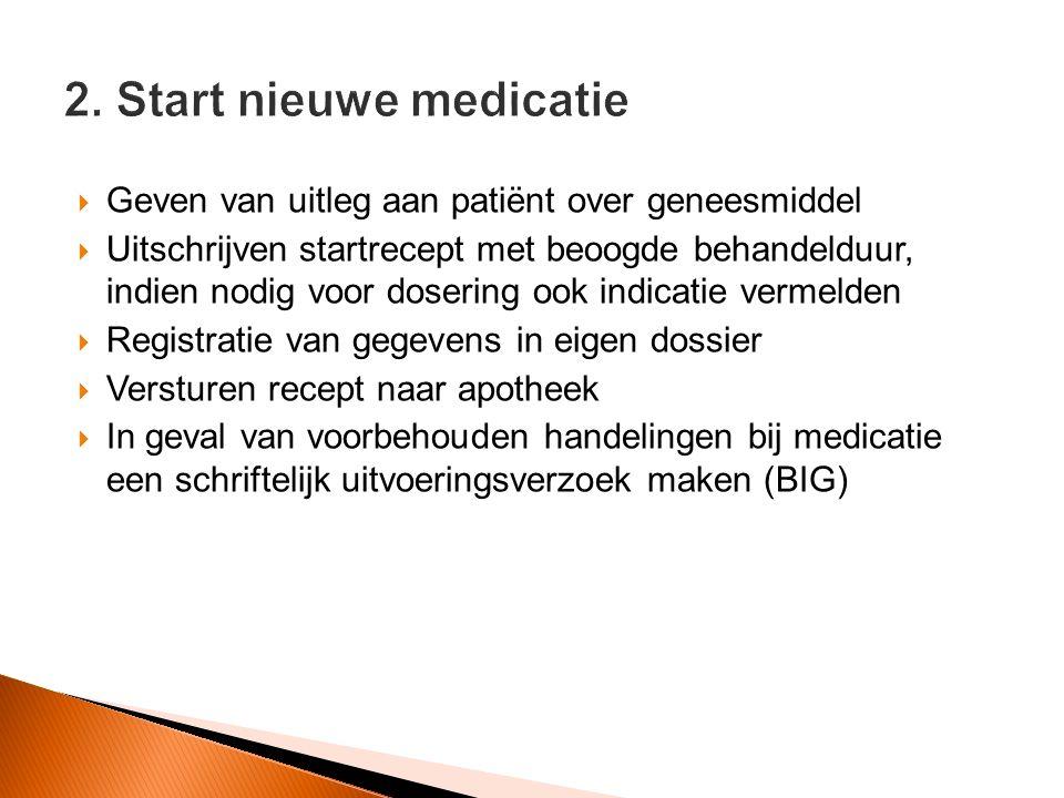 2. Start nieuwe medicatie