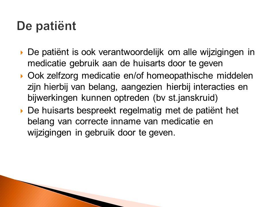 De patiënt De patiënt is ook verantwoordelijk om alle wijzigingen in medicatie gebruik aan de huisarts door te geven.