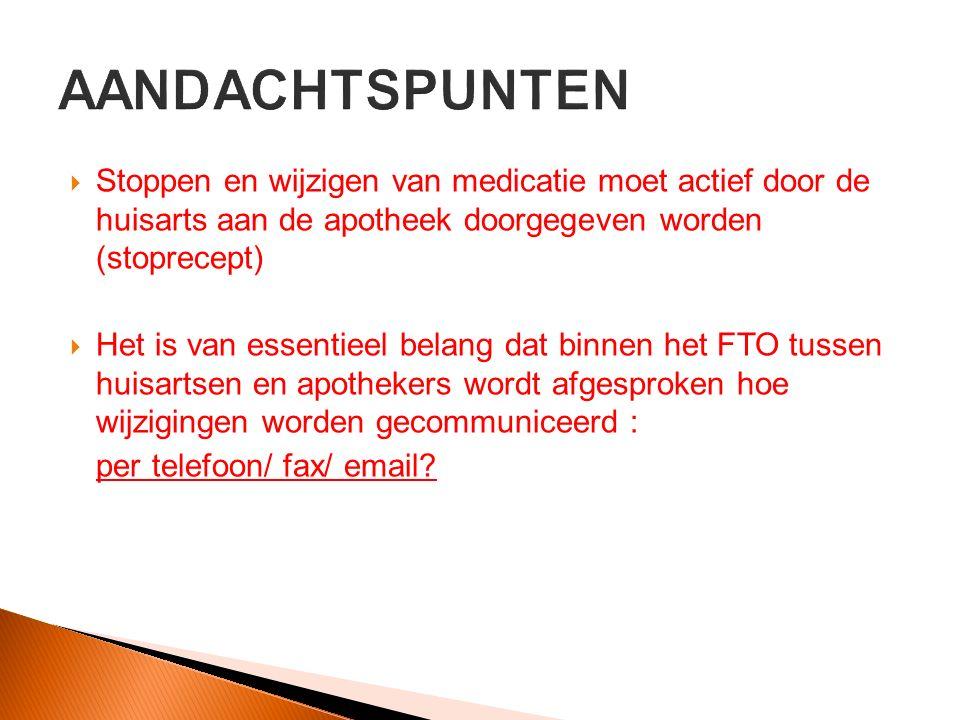 AANDACHTSPUNTEN Stoppen en wijzigen van medicatie moet actief door de huisarts aan de apotheek doorgegeven worden (stoprecept)