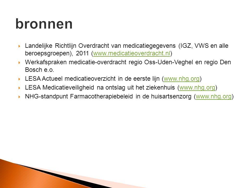 bronnen Landelijke Richtlijn Overdracht van medicatiegegevens (IGZ, VWS en alle beroepsgroepen), 2011 (www.medicatieoverdracht.nl)