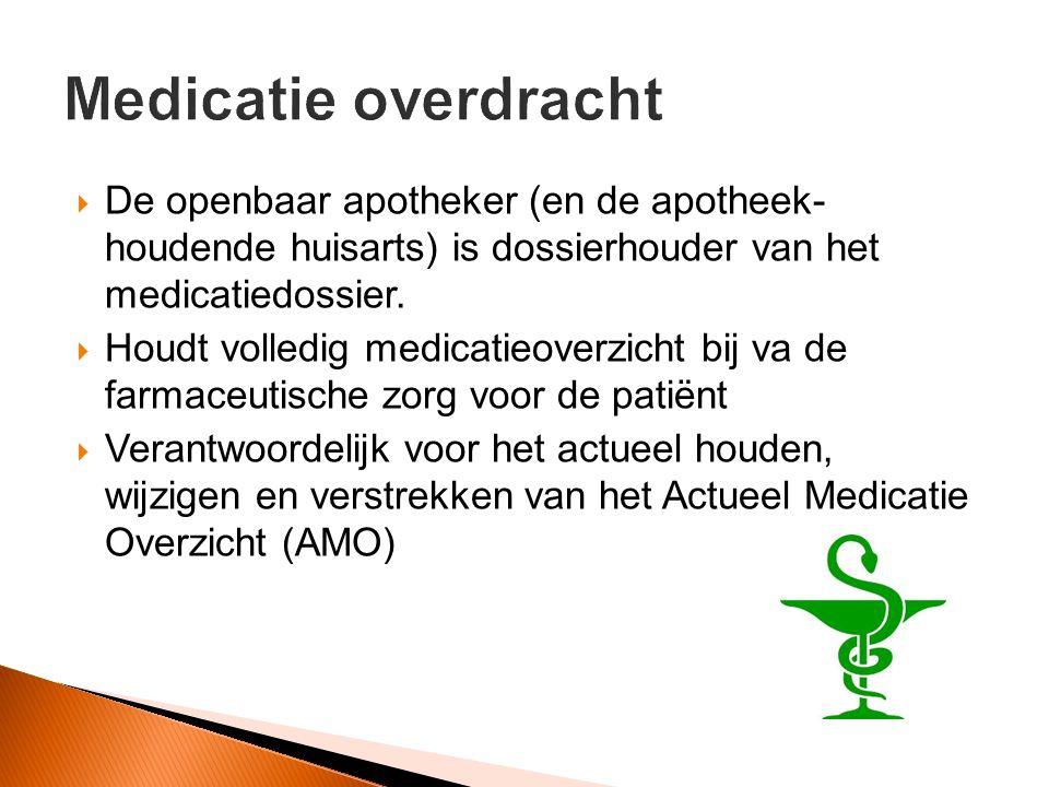 Medicatie overdracht De openbaar apotheker (en de apotheek- houdende huisarts) is dossierhouder van het medicatiedossier.