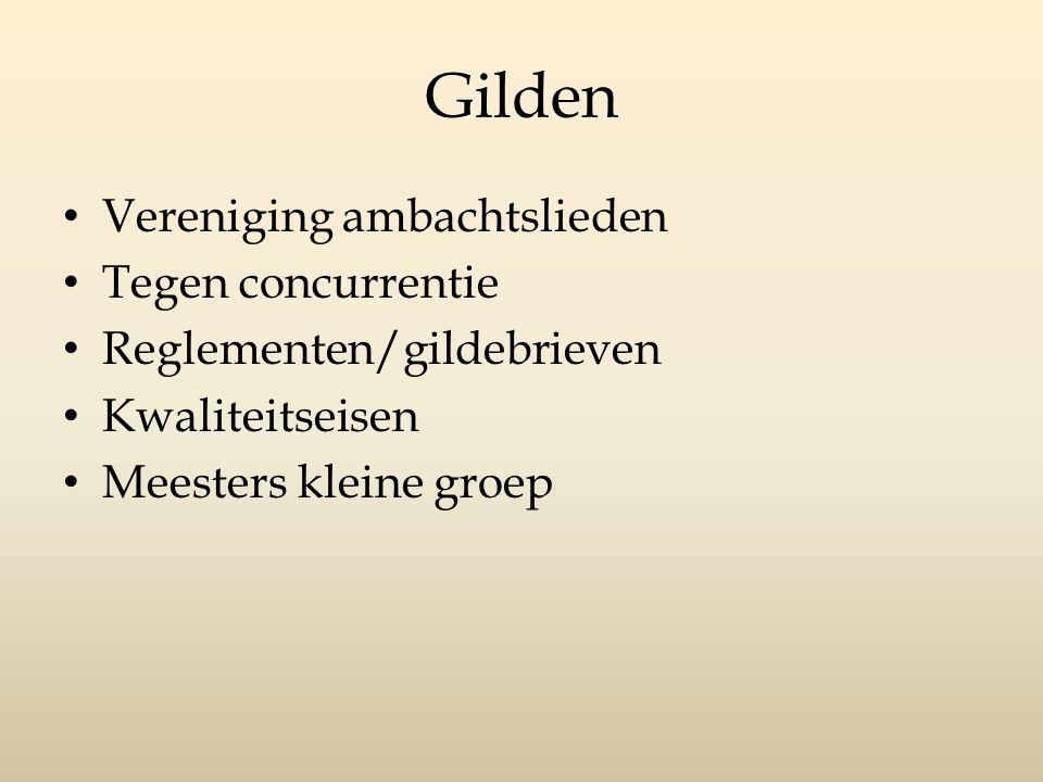 Gilden Vereniging ambachtslieden Tegen concurrentie