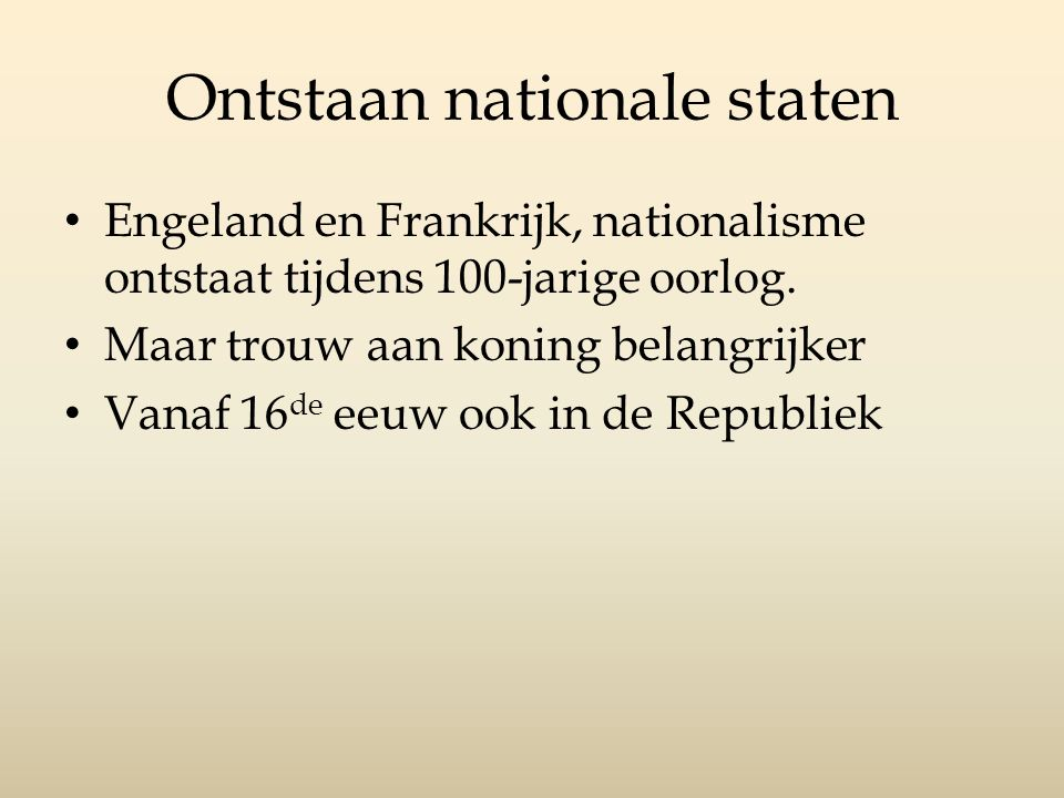 Ontstaan nationale staten