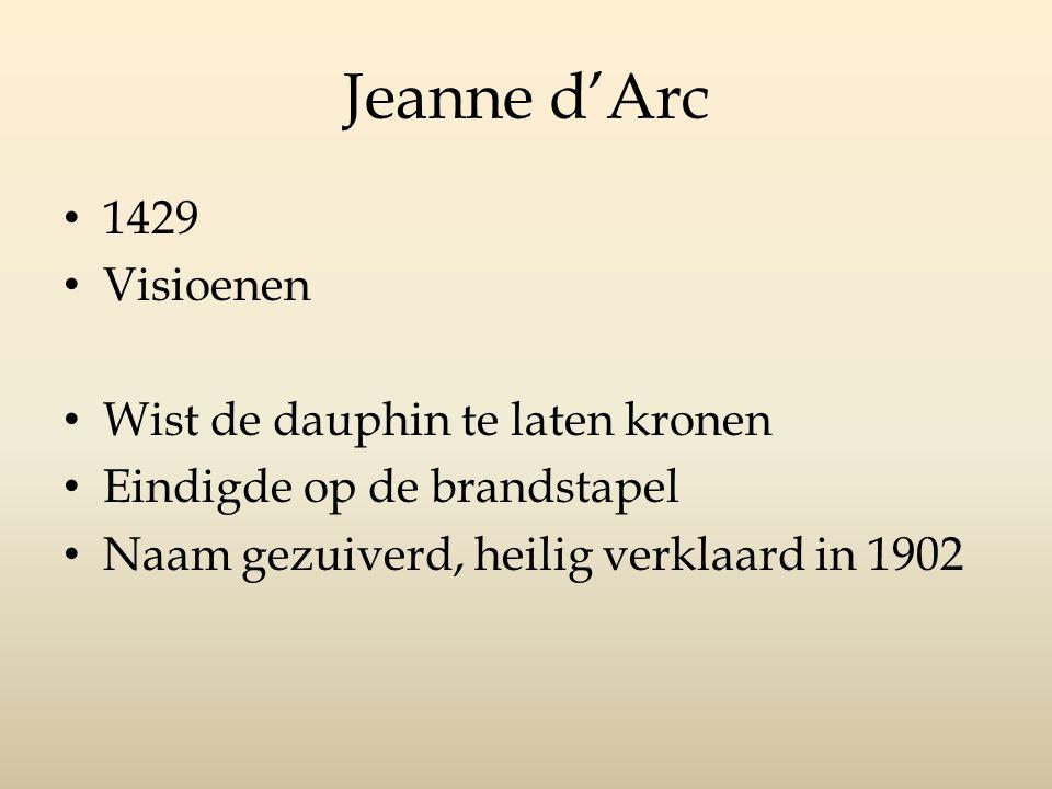 Jeanne d'Arc 1429 Visioenen Wist de dauphin te laten kronen