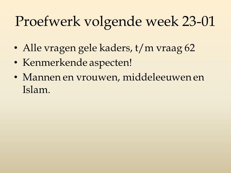 Proefwerk volgende week 23-01