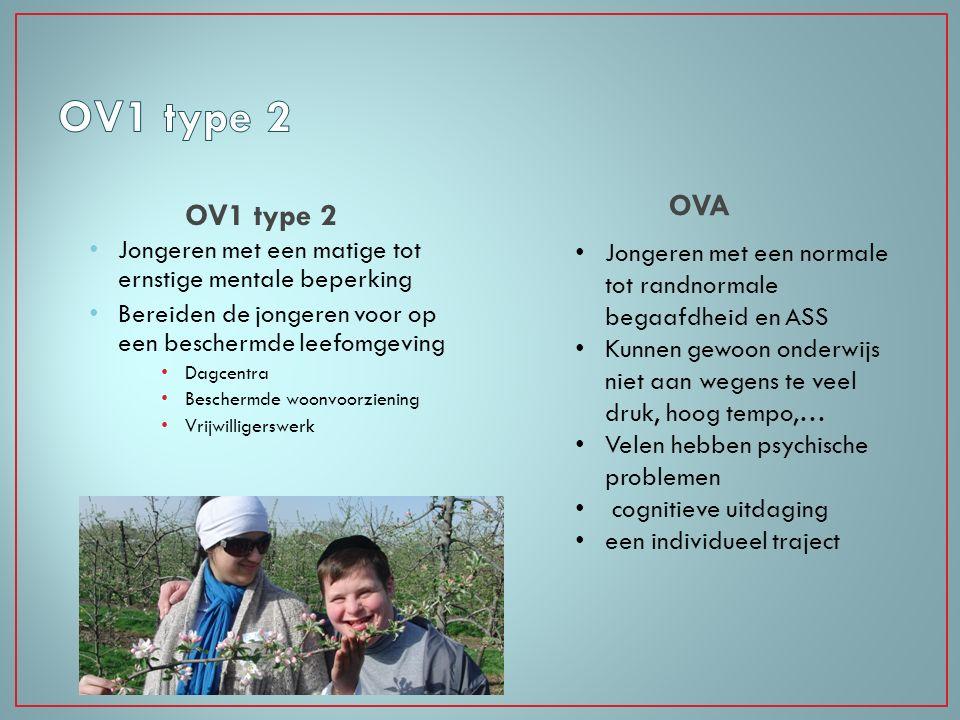 OV1 type 2 OVA. OV1 type 2. Jongeren met een matige tot ernstige mentale beperking. Bereiden de jongeren voor op een beschermde leefomgeving.