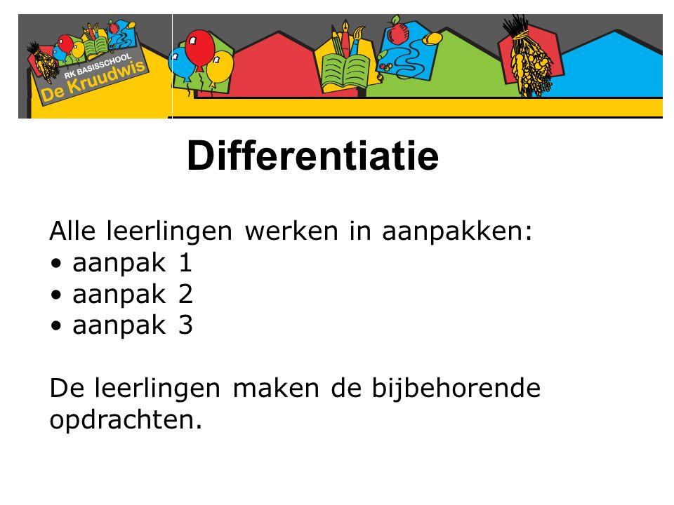 Differentiatie Alle leerlingen werken in aanpakken: aanpak 1 aanpak 2