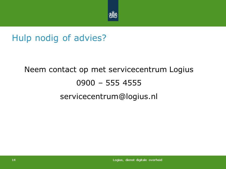 Neem contact op met servicecentrum Logius