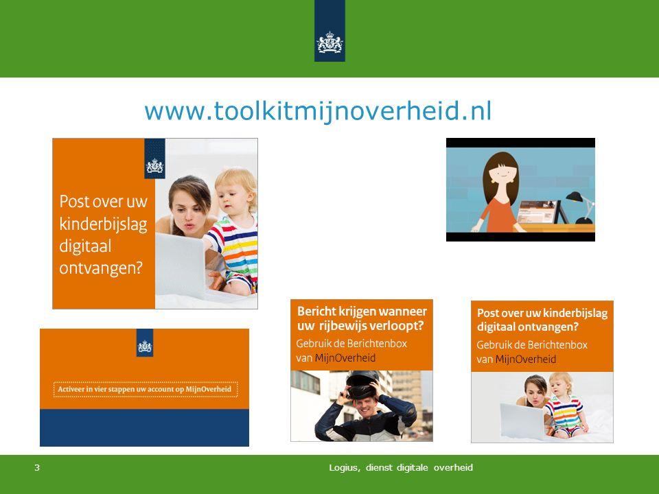www.toolkitmijnoverheid.nl Logius, dienst digitale overheid