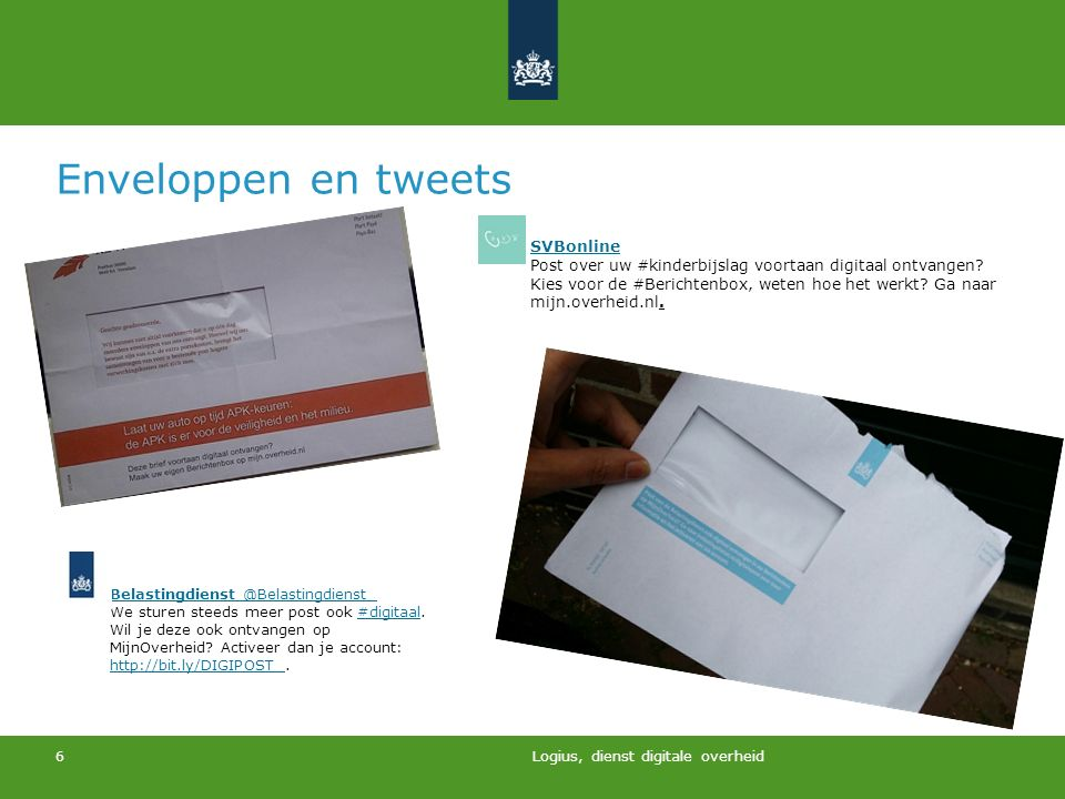 Enveloppen en tweets SVBonline