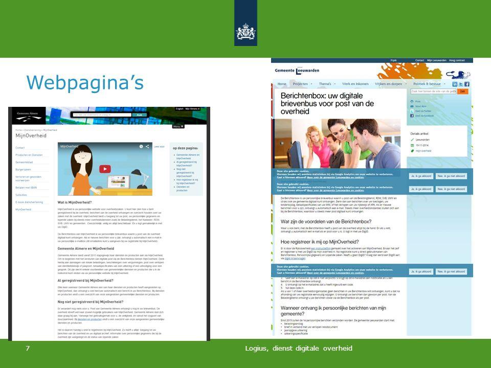 Webpagina's Logius, dienst digitale overheid