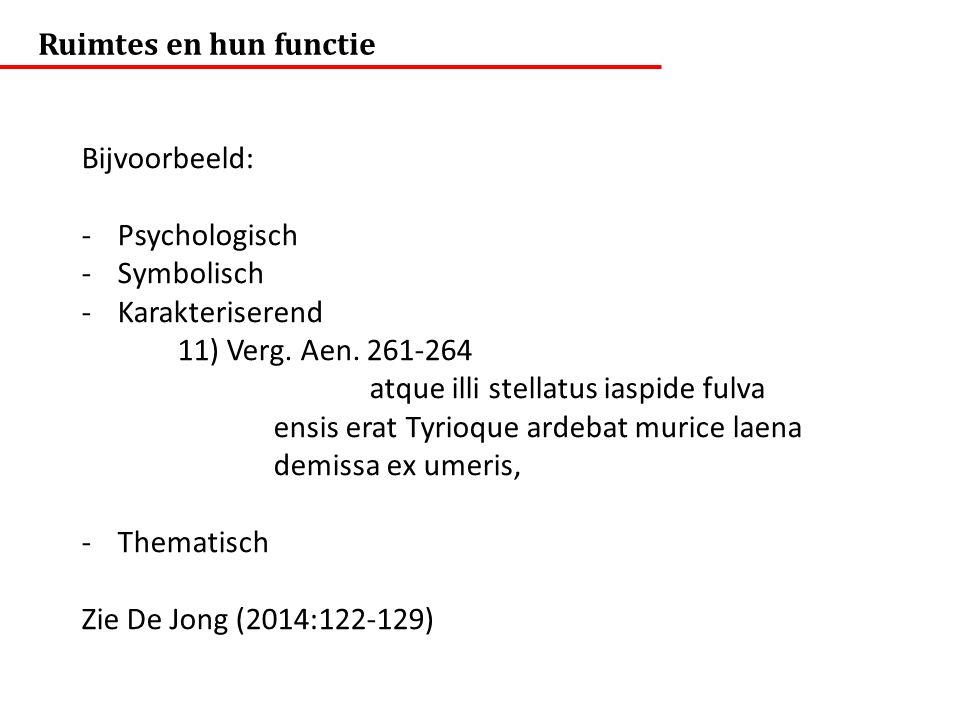 Ruimtes en hun functie Bijvoorbeeld: Psychologisch. Symbolisch. Karakteriserend. 11) Verg. Aen. 261-264.