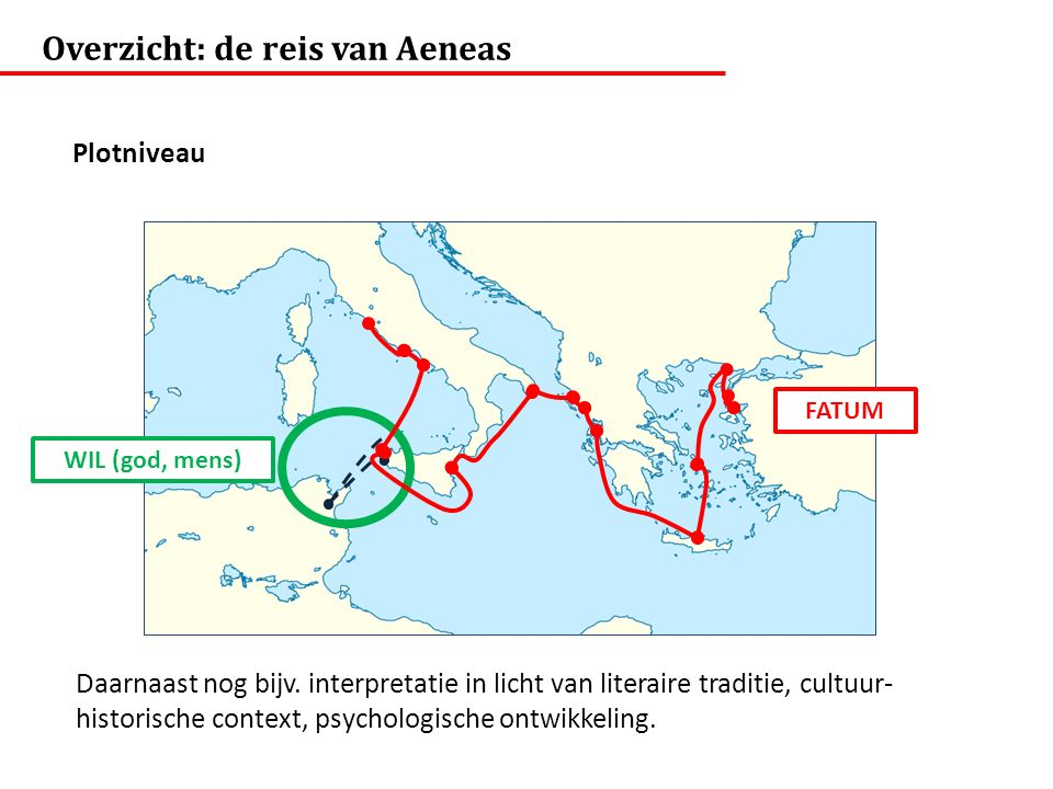 Overzicht: de reis van Aeneas