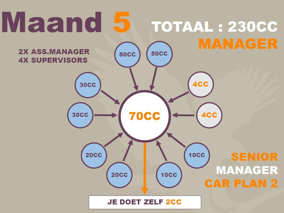 Maand 5 TOTAAL : 230CC MANAGER 70CC SENIOR MANAGER CAR PLAN 2
