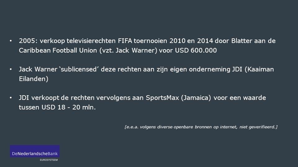 2005: verkoop televisierechten FIFA toernooien 2010 en 2014 door Blatter aan de Caribbean Football Union (vzt. Jack Warner) voor USD 600.000