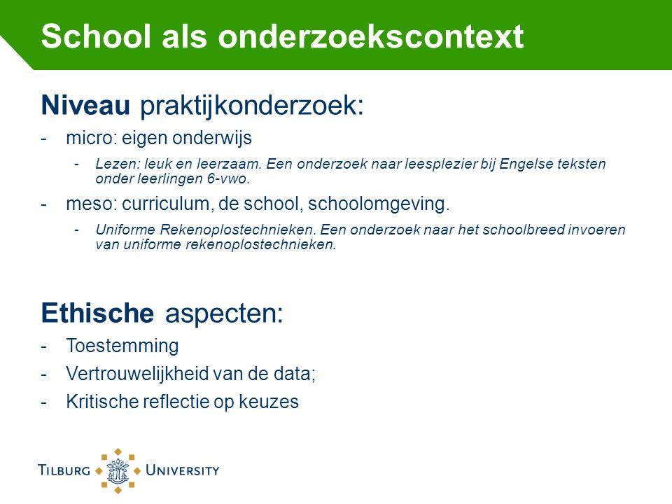 School als onderzoekscontext