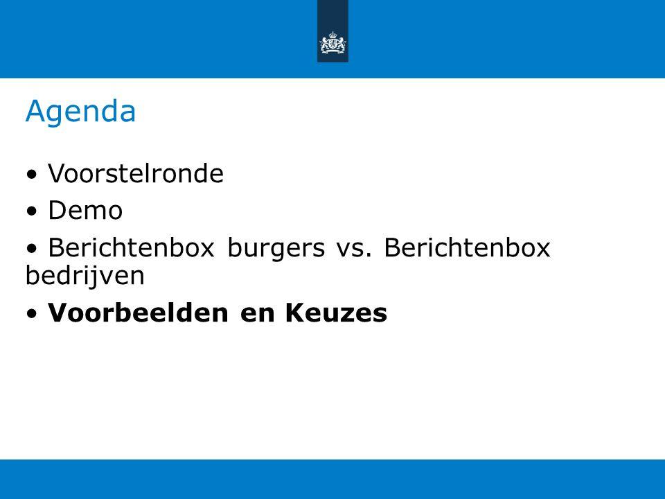 Agenda • Voorstelronde • Demo • Berichtenbox burgers vs.
