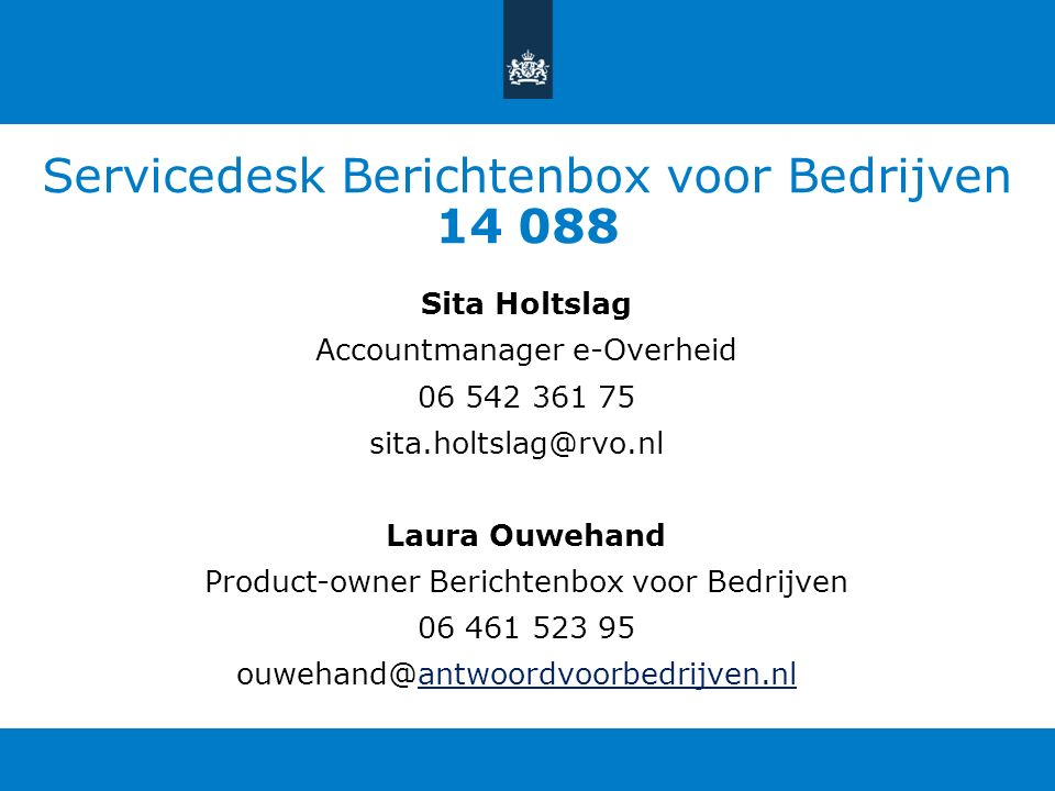 Servicedesk Berichtenbox voor Bedrijven 14 088