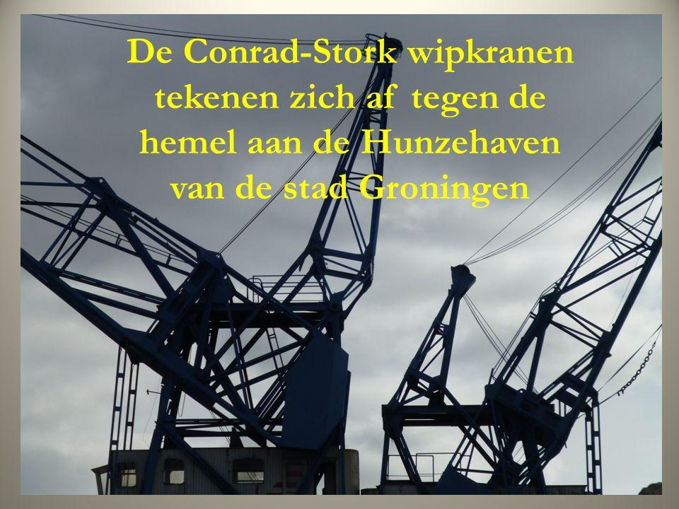 De Conrad-Stork wipkranen tekenen zich af tegen de hemel aan de Hunzehaven van de stad Groningen