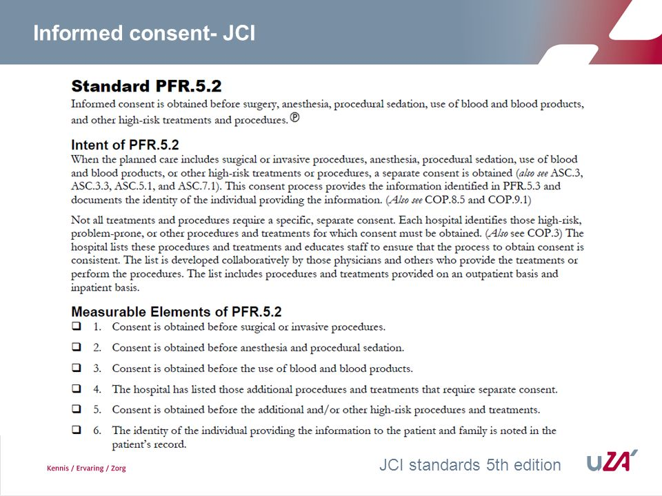 Informed consent- JCI JCI standards 5th edition