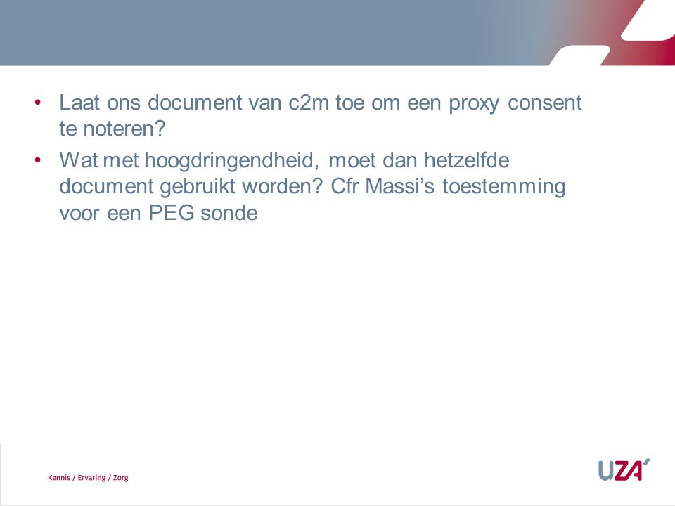Laat ons document van c2m toe om een proxy consent te noteren