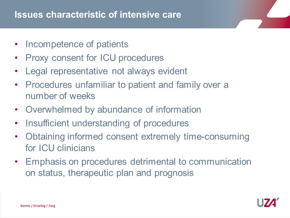 Issues characteristic of intensive care