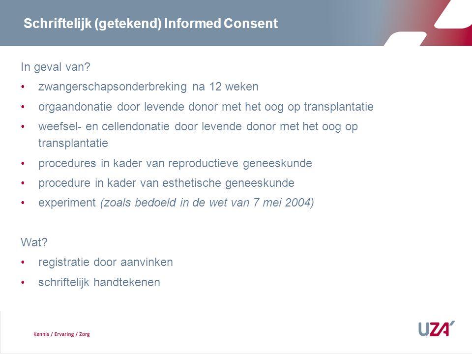 Schriftelijk (getekend) Informed Consent