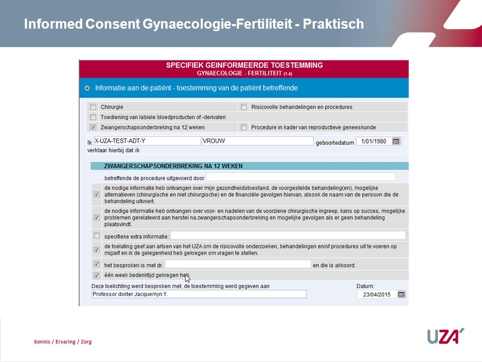 Informed Consent Gynaecologie-Fertiliteit - Praktisch