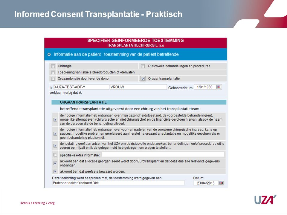 Informed Consent Transplantatie - Praktisch