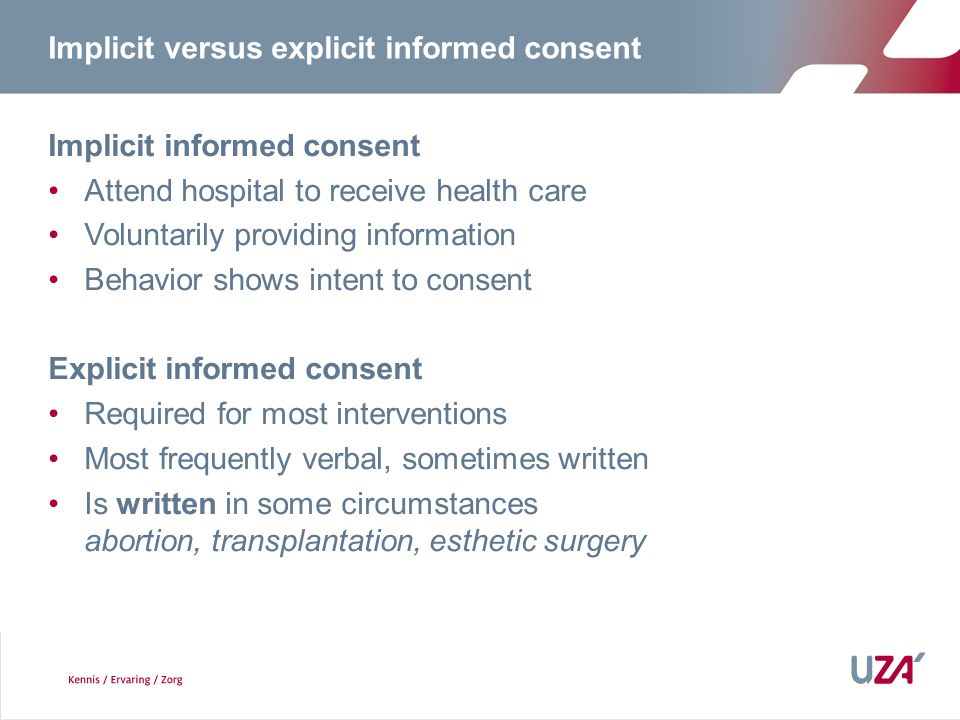 Implicit versus explicit informed consent