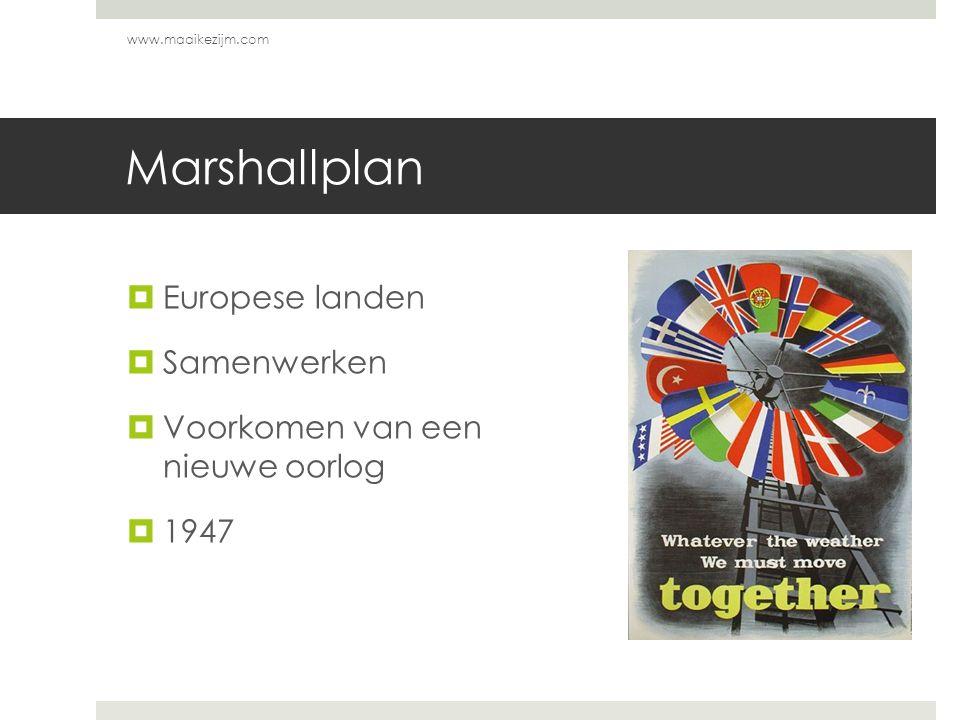 Marshallplan Europese landen Samenwerken