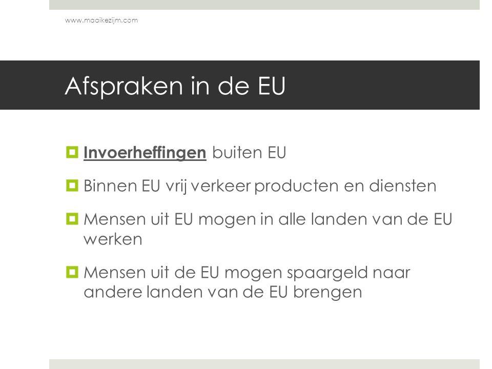 Afspraken in de EU Invoerheffingen buiten EU