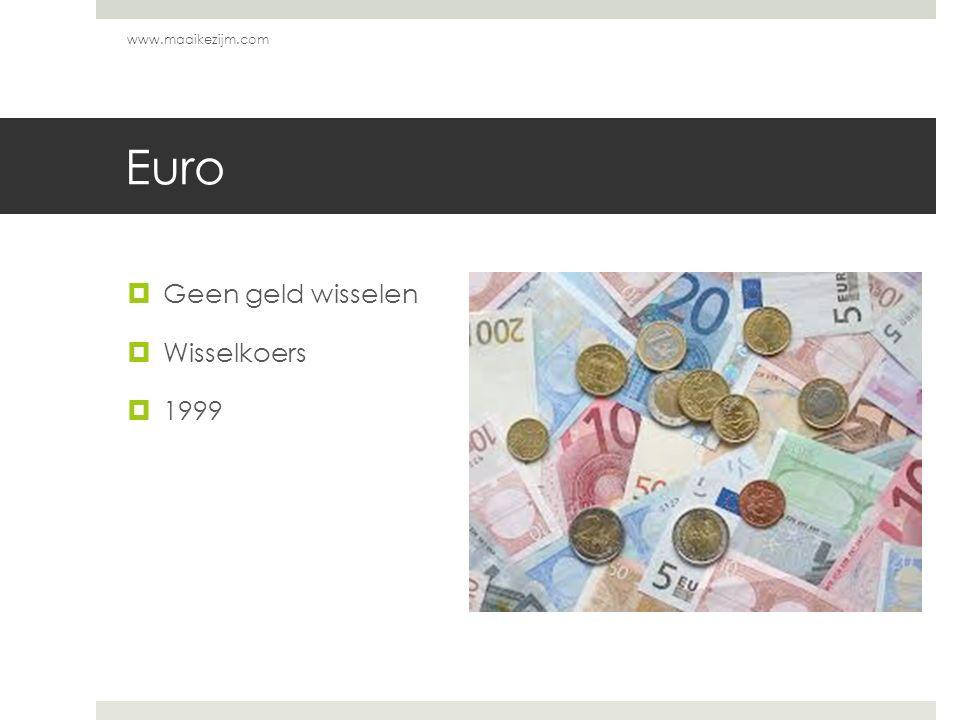 www.maaikezijm.com Euro Geen geld wisselen Wisselkoers 1999