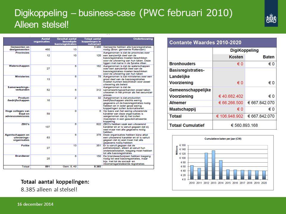 Digikoppeling – business-case (PWC februari 2010) Alleen stelsel!
