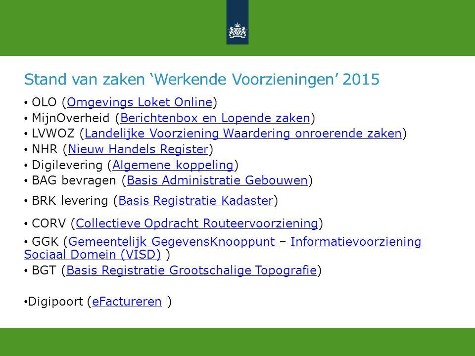 Stand van zaken 'Werkende Voorzieningen' 2015