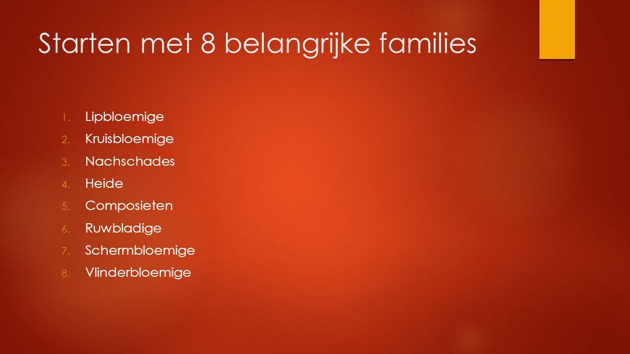 Starten met 8 belangrijke families
