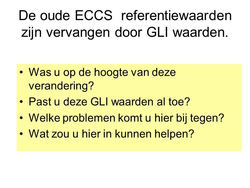 De oude ECCS referentiewaarden zijn vervangen door GLI waarden.