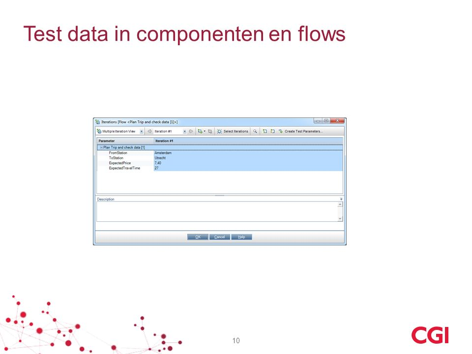 Test data in componenten en flows