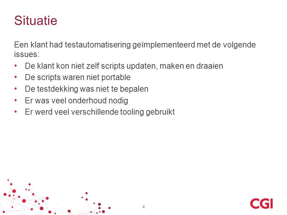 Situatie Een klant had testautomatisering geïmplementeerd met de volgende issues: De klant kon niet zelf scripts updaten, maken en draaien.