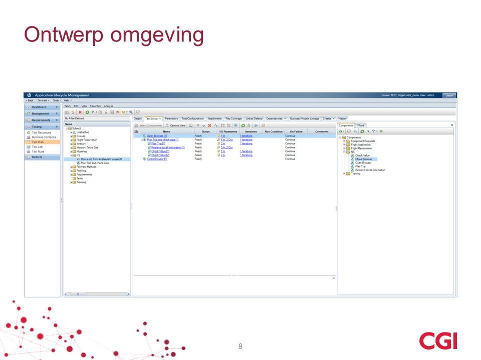 Ontwerp omgeving De busines analysten kunnen in een browser doormiddel van componenten in de juist volgorde te slepen een test script maken.