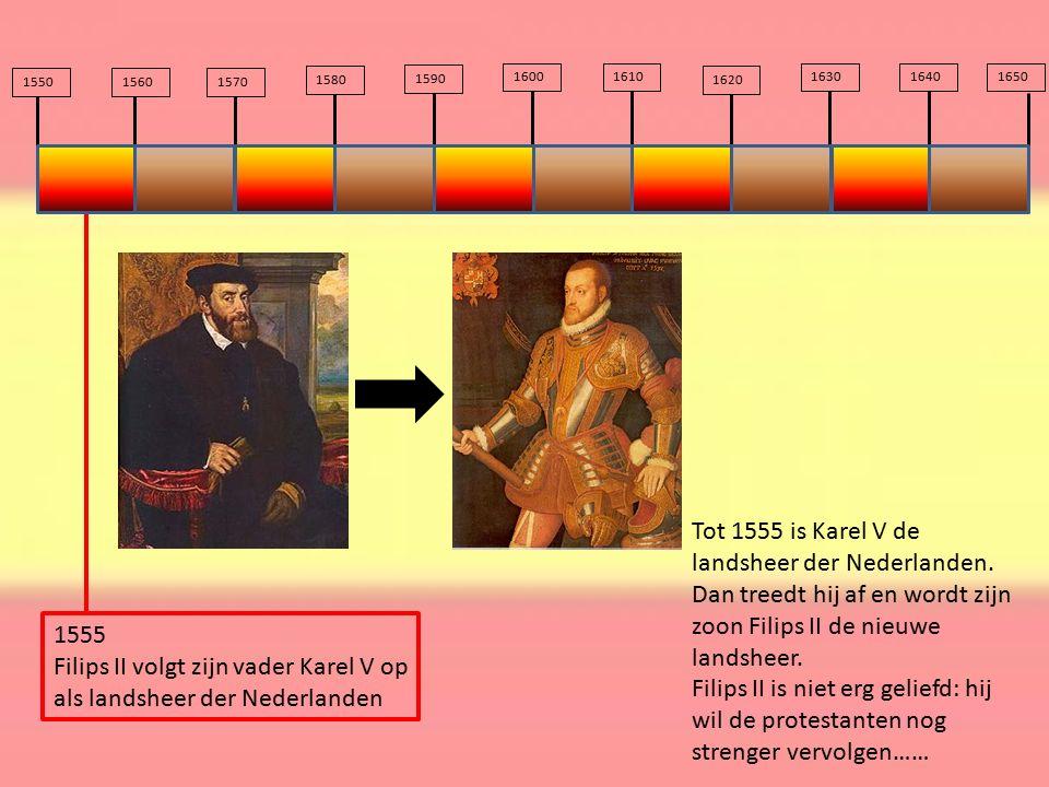 Filips II volgt zijn vader Karel V op als landsheer der Nederlanden