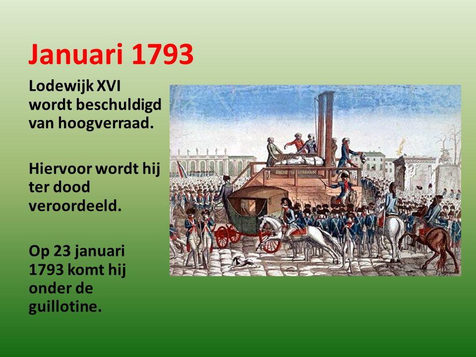 Januari 1793 Lodewijk XVI wordt beschuldigd van hoogverraad.