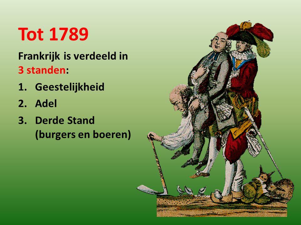 Tot 1789 Frankrijk is verdeeld in 3 standen: Geestelijkheid Adel